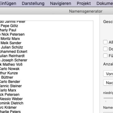 Deutsche Namenslisten für Scrivener